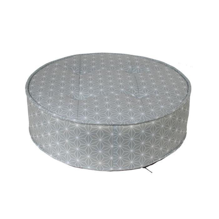 HOME DECO Factory Pouf rond - 50 cm - Gris motif blanc M2 HD3918