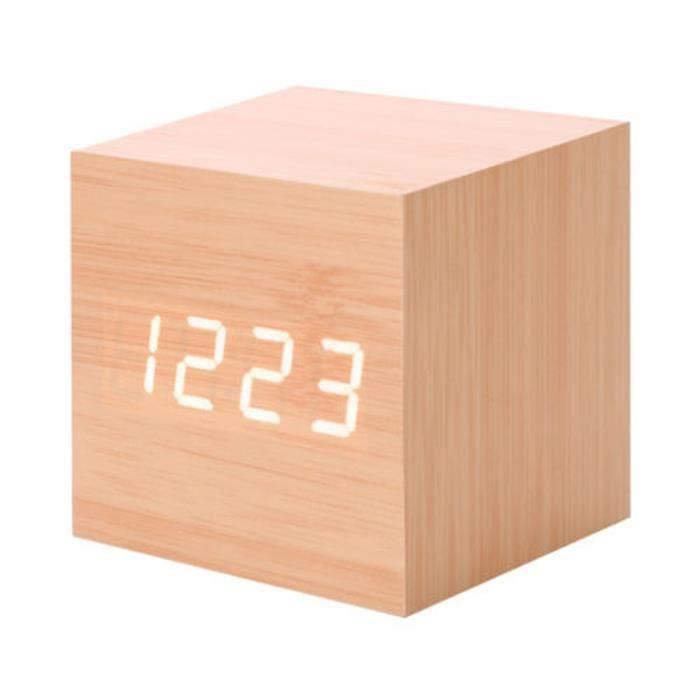 Nouveau Led Numérique En Bois Moderne Bureau Réveil Thermomètre Calendrier Minuterie Paontry 250