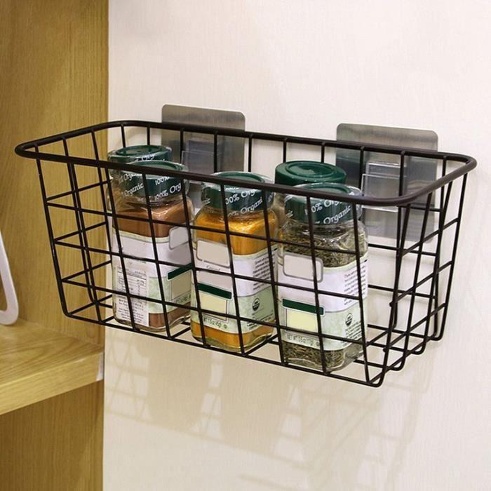 Panier de douche Organisateur adhésif Etagère en métal pour Cuisine Salle de bain - Noir