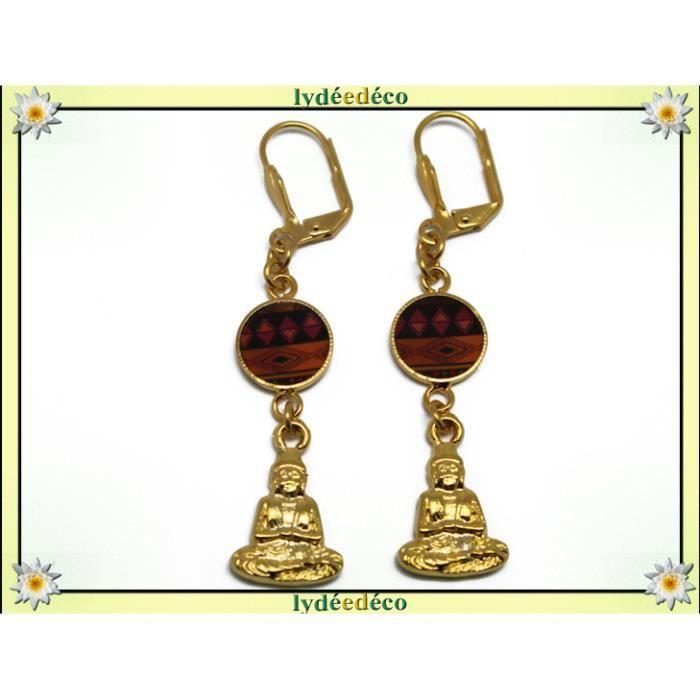 Boucles doreilles BOUDDHA laiton doré or fin 24 carats 24k ethnique Afrique losange orange noir résine