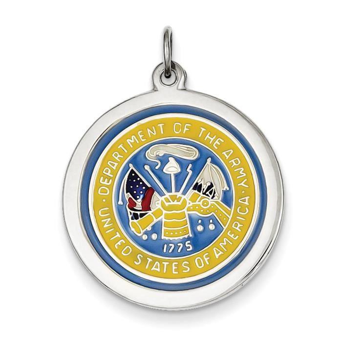 Argent Sterling charme de larmée américaine-Disque Logo