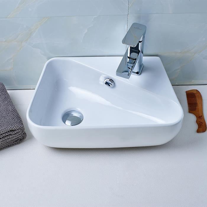 Aruhe® Lavabo De Salle De Bain Vasque à Poser Évier En Céramique Blanc  Solide Design Moderne Garantie Modèle E