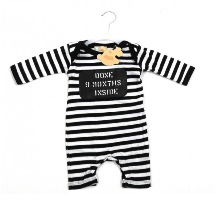Combinaison bébé en coton garçons filles naissance body manches et jambes  longues barboteuse rayé noir blanc idée cadeau naissance 5e5d5348740