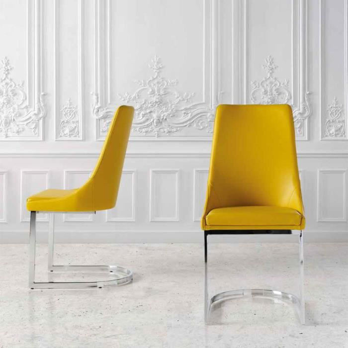 CHAISE Chaise Jaune Design APOLLON Lot De 2