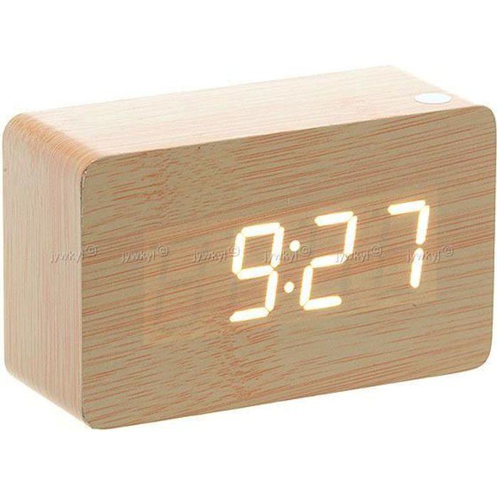 horloge r veil alarme digital led en bois the achat vente horloge bois cdiscount. Black Bedroom Furniture Sets. Home Design Ideas