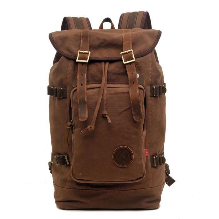 Sac à dos randonné hommes et femmes backpack en canevas et cuire pour voyage sport collège 29x16.5x48cm