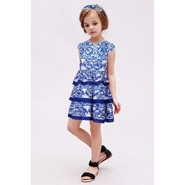 2d0124b4104dd bébé filles Robes enfants vêtements 2016 bleu majolique enfants Floral robe  princesse Costume