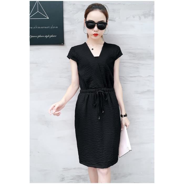 robe femmes mode été nouveau tempérament coréen Col en V Slim manches courtes mousseline