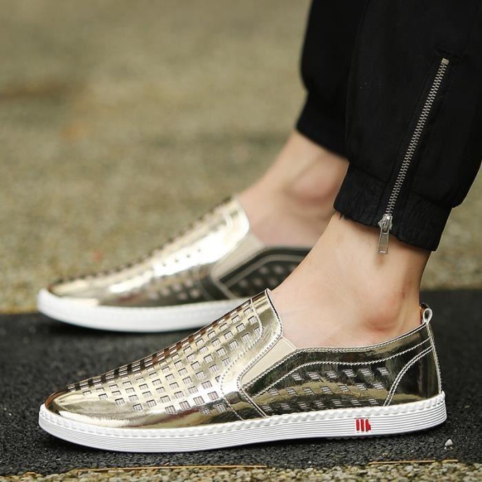 Véritable Mocassins Chaussures en cuir d'homme pour hommes respirants Mocassins Slip Male Auto Chaussures Casual Chaussures de