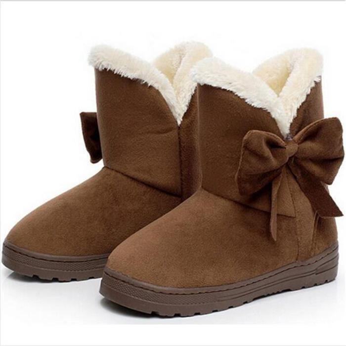Bottine Femme Hiver Comfortable Peluche Classique Boots BSMG-XZ014Marron-38