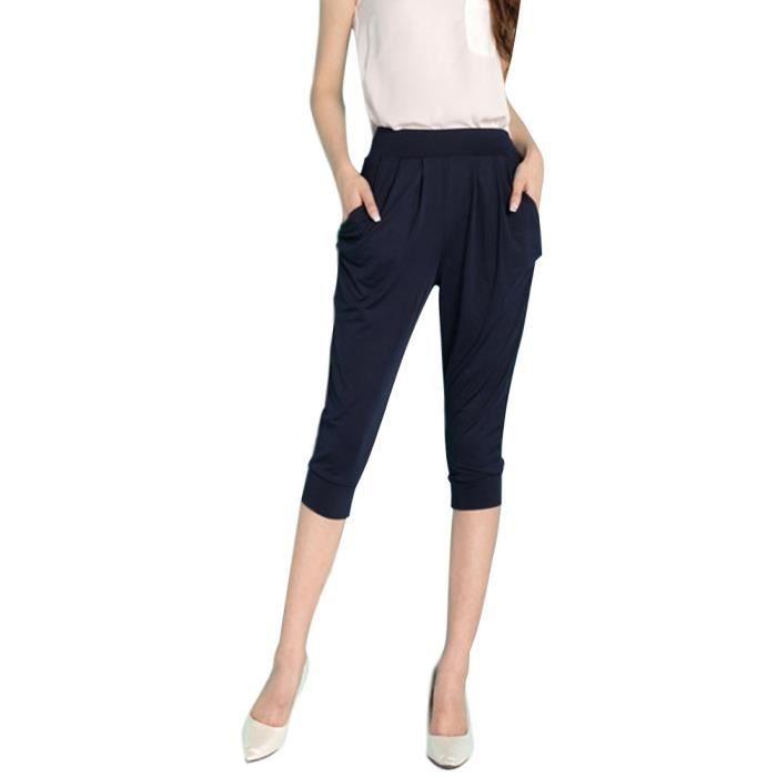 c645347866 ... Eté Taille Haute Short Mode Elastiqué Sport Yoga Fitness. PANTACOURT  Minetom Pantacourt Femme Pantalons Courts 3-4 Saro