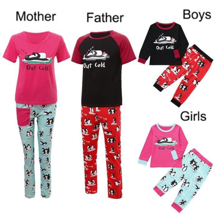 f23ea16def03f Enfants de Noël du Père Fille Garçon Noël Lettre Pyjama Ensemble de famille Vêtements  nuit rouge