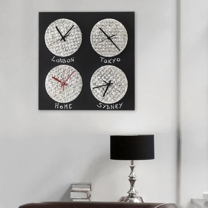 horloge murale design fuseau horaire crono pintdecor fabriqu e en italie achat vente. Black Bedroom Furniture Sets. Home Design Ideas