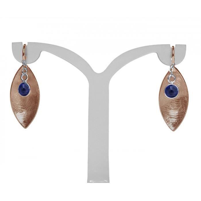 Gemshine - Dames - Boucles doreilles - Boucles doreilles - argent 925 - plaqué or rose - Marquise - Minimaliste - Design - Saphir