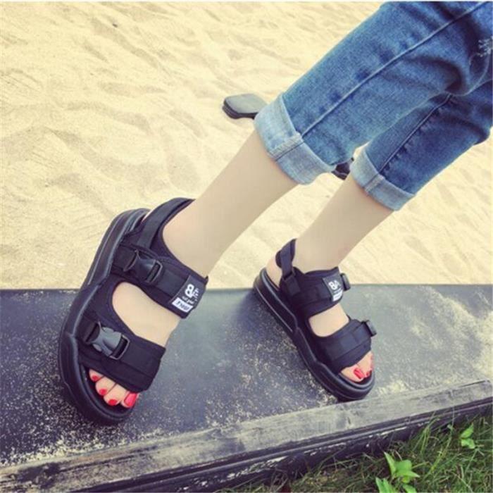 Sandale Femme Marque Plage Nouvelle arrivee 2017 ete Sandale De Marque De Luxe de Plage air Noir Grande Taille 36-39