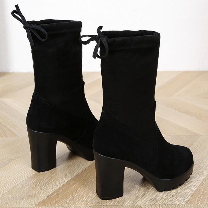 Bottes Talon Chaussures D'âge Élastique Épais Femmes Mince Noir Haut Avec Martin Onx4qIR
