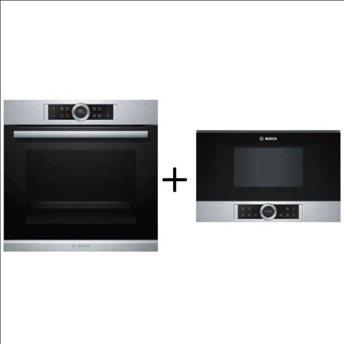 BOSCH - HBG672BS2 - Four multifonction pyrolyse -71 l - Classe A+ - Inox + BOSCH - BFL634GS1 - Four Micro-onde encastrable