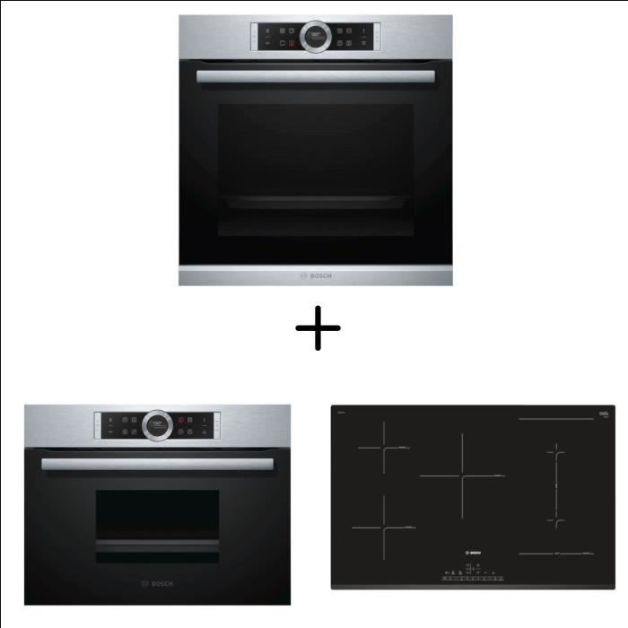 BOSCH HBG672BS2 Four multifonction pyrolyse + PVW831FC5E Table Combi induction + CDG634BS1 - Four va