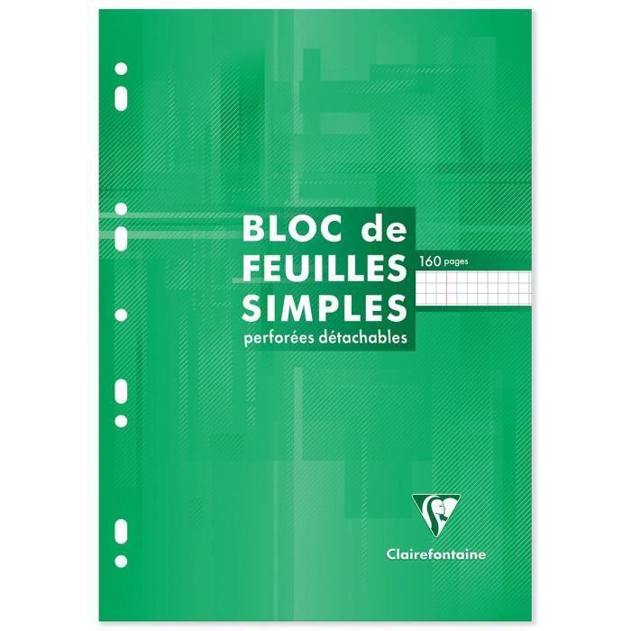 CLAIREFONTAINE Bloc Feuilles simples - 210 x 297 mm - 160 pages perforées 9 trous - Papier PEFC 90 g - Couverture vernie