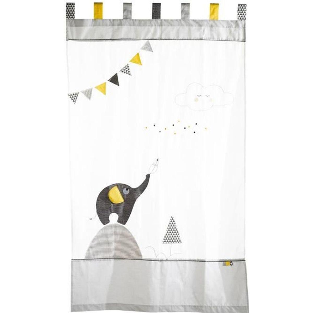 Rideau Jaune Et Blanc : babyfan rideau organdi jaune blanc gris achat vente rideau cdiscount ~ Teatrodelosmanantiales.com Idées de Décoration