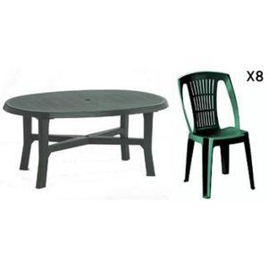 Table de jardin plastique verte - Achat / Vente pas cher