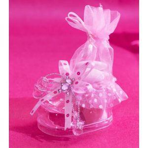 b6153a9920aaa BOÎTE À DRAGÉES 10 contenants à dragées chaussons baptême rose