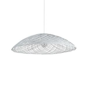 LUSTRE ET SUSPENSION SATELISE-Suspension Rotin Ø70cm Blanc Forestier |