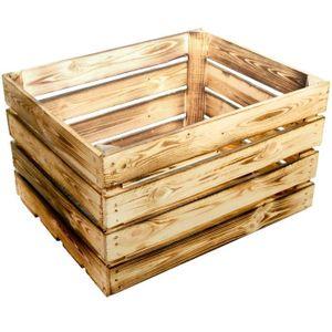 BOITE DE RANGEMENT Lot de 2 NEW caisses de rangement en bois flambé -