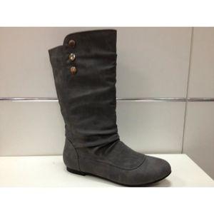 b9af86df901e Botte femme bottines talon plates boots F006 gris gris - Achat ...