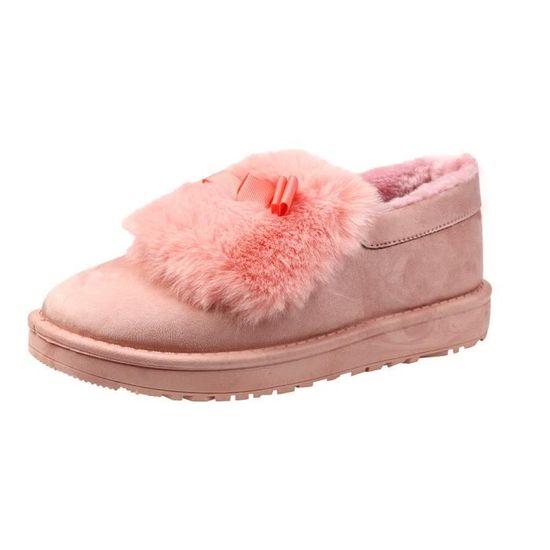 Mode femme Bottes fourrure Bottines plates Bordée Chaussures chaud de neige d'hiver Chaussures Lazy qinhig269 Rose Rose - Achat / Vente botte