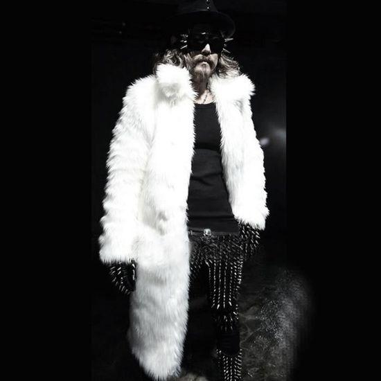 Chaud Parka Blanc Manteau D'hiver Fausse En Outwear Cardigan Veste Overout Fourrure Épais Hommes fTOa5wqn