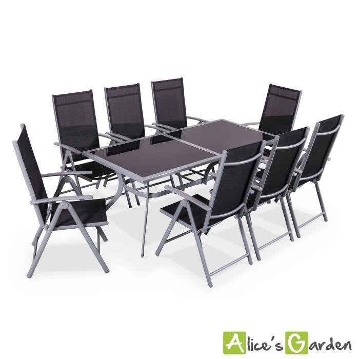 Naevia - Table de jardin 8 places alu/textilène - Achat / Vente ...