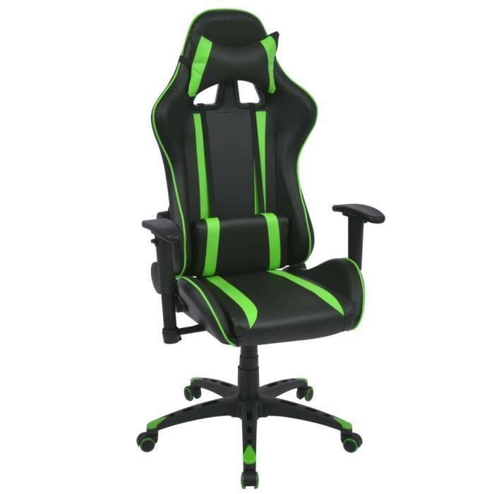 Chaise De Bureau Gamer Noir Et Vert Fauteuil En Similicuir Directeur