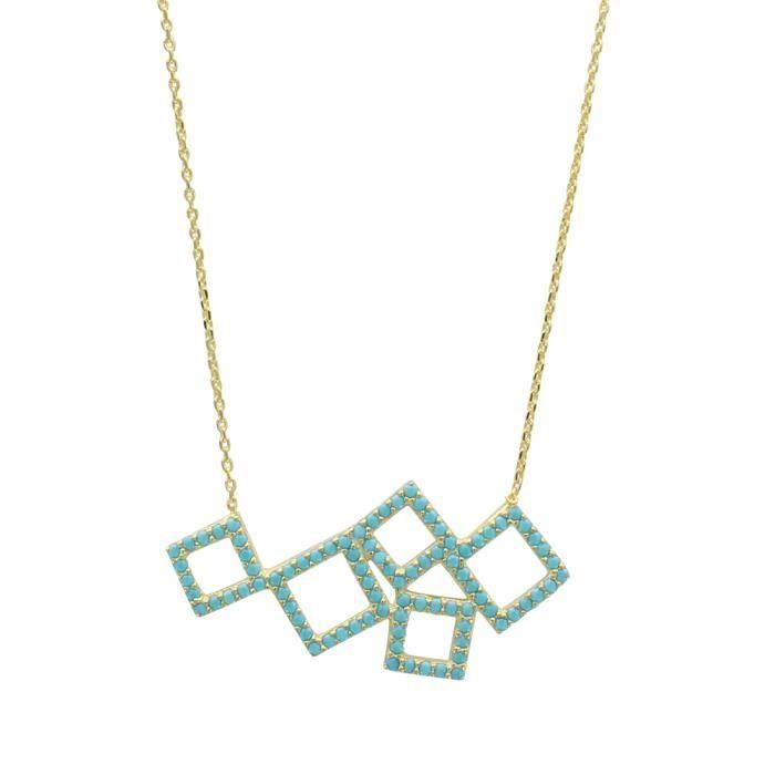 Collier argent 925/1000 doré et et turquoise synthétique 40+5cm
