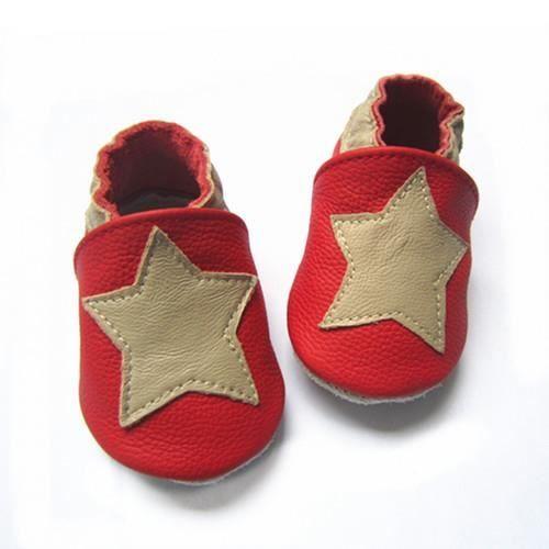 031165150c376 CHAUSSON - PANTOUFLE Chaussons ENFANT Cuir Souple 0-6 mois etoile rouge