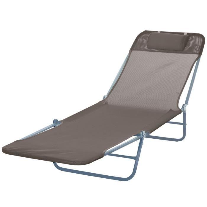 Chaise longue pliante bain de soleil inclinable transat textilene lit  jardin plage chocolat 37 a6217ed31c7b