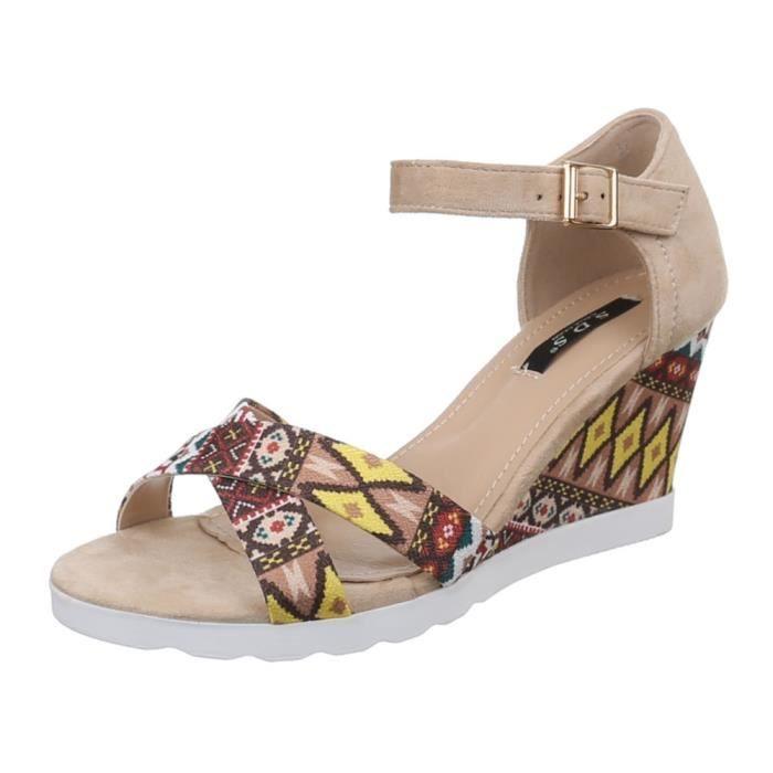 femme chaussure sandalette escarpin semelle à talon compensé Beige