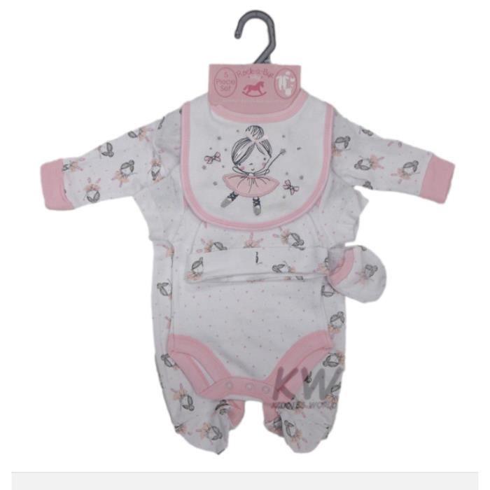 acd4ffe2d5579 Ensemble cadeau de naissance bébé fille pyjama body bonnet bavoir moufles