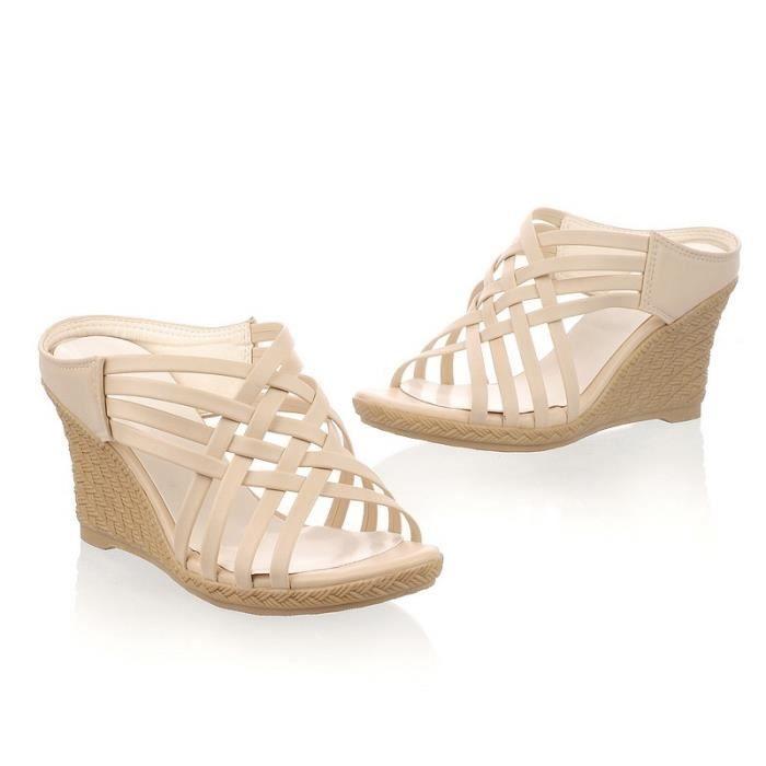 nouvelle mode taille plus ouvert orteils femmes à haut talon imperméables chaussures sandales,abricot,5
