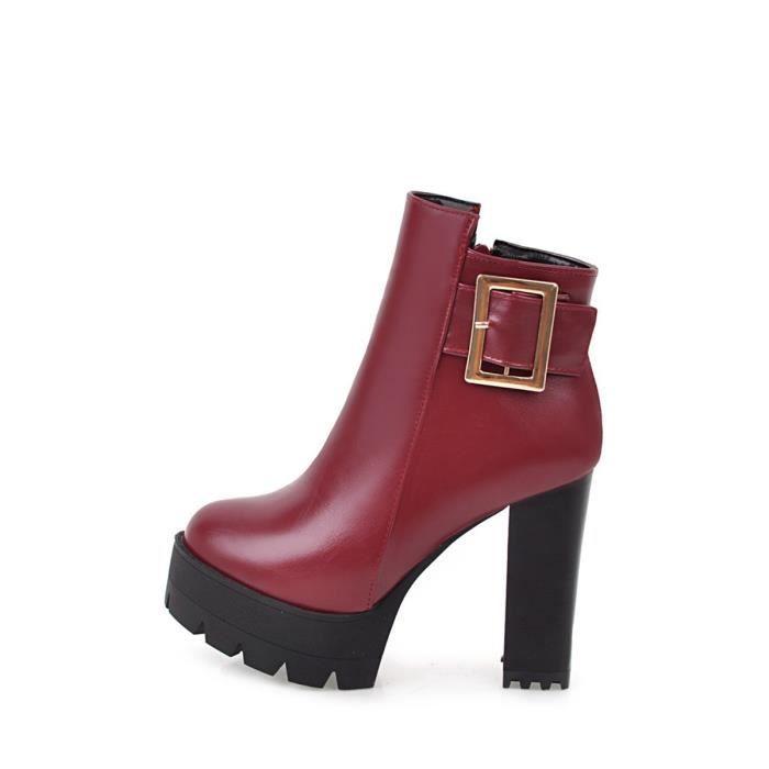 Femmes Bottines Style rétro talon haut Ladylike Tout Chaussures match 9815210
