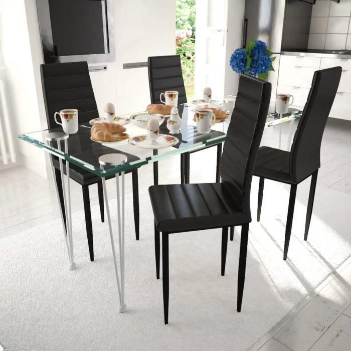 Lot De 4 Chaises Noires Aux Lignes Fines Avec Une Table En Verre Chaise Scandinave Contemporain Ensemble De Chaises