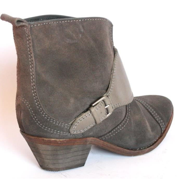CHAUSSURESFEMME BOTTINES LOW BOOTS CUIR SOUDE GRI o4piyt