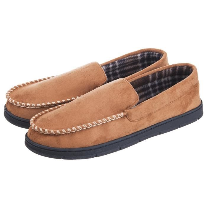 Soft Warm Indoor Outdoor Anti-slip Microsuede Moccasins Flats Slippers Shoes OF7VE Taille-47