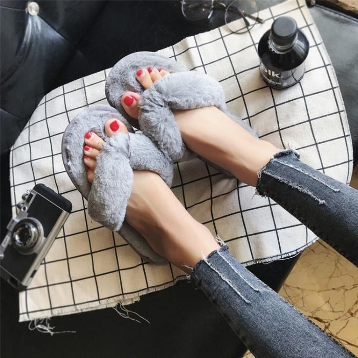 fourrure femmes chaud la chambre à chambre peluche chaussures et 2017 en de l'intérieur les de automne hiver pantoufles plates luxe FwxTqIP7