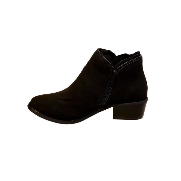 Vegan Leather Zipper Trimmed Chunky Heel Ankle Boots Bootie OJW4D Taille-39 1-2 NhyNQ7Kw3