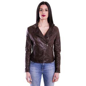 KARIM couleur marron foncée veste en cuir femme perfecto cuir pull ... 6eb8640d93d0