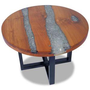 TABLE BASSE Table basse Table de Salon Rond Forme Teck Résine