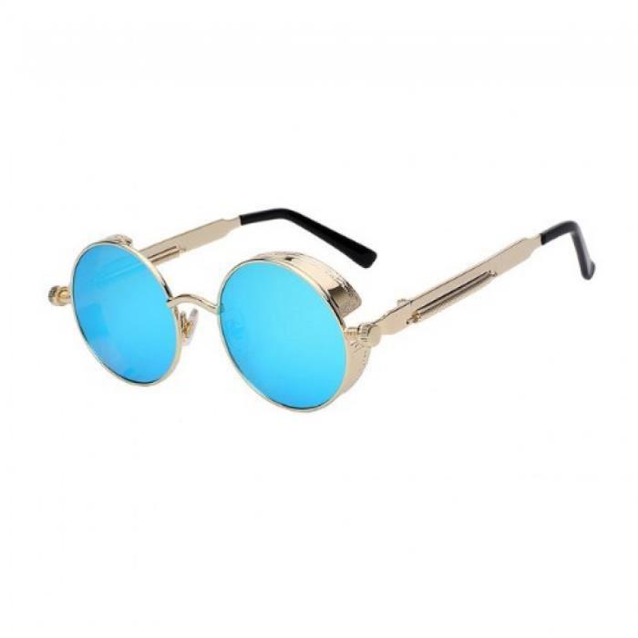 89d60624bb637 Lunette ronde bleu doré - Achat   Vente lunettes de soleil Mixte ...
