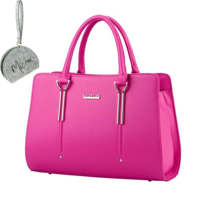 Womens Pure Color Pu sacs fourre-tout en cuir Boutique poignée supérieure sac à main WBOOB
