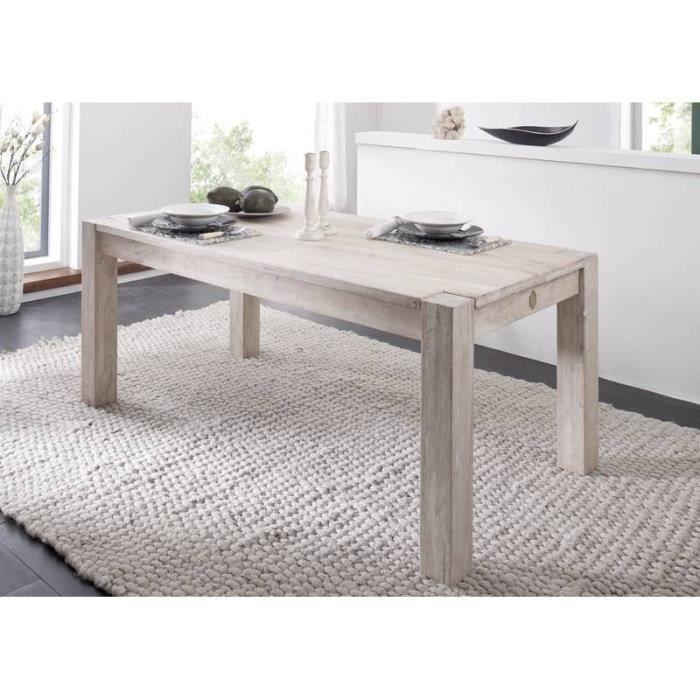 Table A Manger Rectangulaire 160x90 Cm 6 Personnes Bois Massif D Acacia Couleur Bois Blanc Nature White 104
